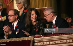 Catherine, Duchess of Cambridge, Prince William, Duke of Cambridge and Prince Andrew, Duke of York chat at the Royal Albert Hall for the Annual Festival of Remembrance on November 7, 2015 in London, England.