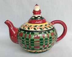 Debbie Mumm Sakura China Holly & Plaid Christmas Tea Pot