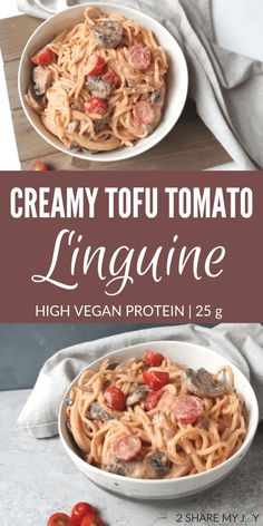 High protein vegan tofu tomato linguine recipe. You won't even taste the tofu! High Protein Vegan Recipes, Tofu Recipes, Pasta Recipes, Healthy Recipes, Recipes With Tofu And Pasta, Healthy Food, Dinner Recipes, Clean Recipes, Healthy Smoothies