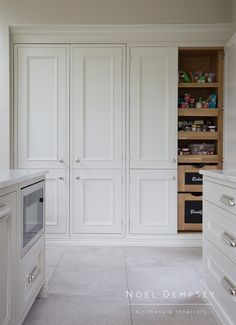 Custom Pantry Interior Custom Pantry Interior - Own Kitchen Pantry Kitchen Pantry Design, Rustic Kitchen Cabinets, Kitchen Redo, Kitchen Furniture, Kitchen Cabinets Ireland, Navy Kitchen, Pantry Interior, Built In Pantry, Wall Pantry