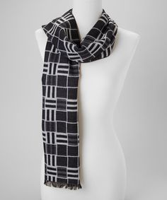 Take a look at this Black & White Grid Cashmere-Blend Scarf by Rapti on #zulily today!
