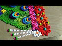 JANMASTAMI special rangoli/colorful rangoli by easy rangoli classes Easy Diwali Rangoli, Diwali Craft, Rangoli Designs Diwali, Rangoli Designs Images, Simple Rangoli, Rangoli Designs Flower, Rangoli Patterns, Rangoli Ideas, Colorful Rangoli Designs