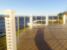 Interior Stairs, Interior And Exterior, Deck Finishes, Stainless Steel Cable Railing, Cable Railing Systems, Wood Handrail, Deck Railings, Decks And Porches, Home Design Decor