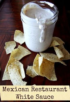 Mexican Restaurant White Sauce Copy Cat recipe of that yummy. Mexican Restaurant White Sauce Copy Cat recipe of that yummy white dip Mexican restaurants serve with chips and salsa! Copycat Recipes, Sauce Recipes, New Recipes, Cooking Recipes, Favorite Recipes, Recipes Dinner, Potato Recipes, Chicken Recipes, Pasta Recipes
