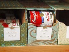 Soup Storage: Soda can box, coat/decorating-basics/clever-uses-for-everyday-items-in-the-kitchen/picture Canned Food Storage, Pop Box, Can Storage, Storage Benches, Storage Ideas, Ideas Prácticas, Dorm Ideas, Ideas Para Organizar, Pantry Organization