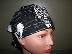 In LOVE with this one!!! Glow in the dark skeleton ponytail scrub cap