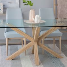 Cross mesa cristal-natural Glass Dining Table, Dining Chairs, Minimalist Dining Room, Dinner Room, Interior Design Living Room, Sweet Home, Room Decor, Decoration, Furniture