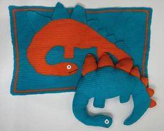 Dinosaur afghan and pillow