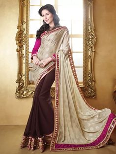 Cream and Beown Faux Georgette Saree with Embroidery Work