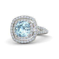 LOVE!!! Cushion Aquamarine 14K White Gold Ring with Diamond   Lillian Ring (8mm gem)   Gemvara