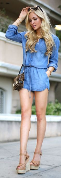 Chambray Washed Short Overall by Angel Food Style