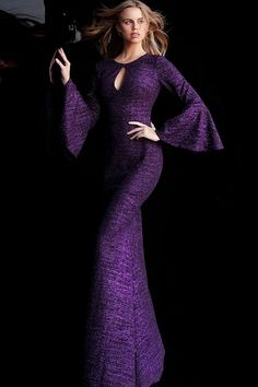 Jovani - 61104 Glitter Long Bell Sleeve Mermaid Dress With Train Glitter Prom Dresses, Prom Dresses Jovani, Glitter Dress, Glitter Fabric, Purple Glitter, Summer Dresses With Sleeves, Long Summer Dresses, Mermaid Dresses, Bridal Dresses