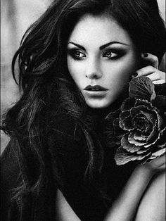 Beautiful dramatic black and white. This woman is so beautiful.
