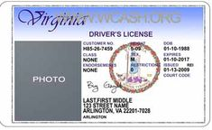 Template Virginia drivers license editable photoshop file .psd