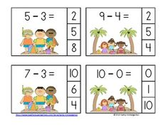 Here's a beach themed subtraction center with minuend a to Math Subtraction, Addition And Subtraction, Kindergarten Centers, Math Centers, Subitizing Activities, English Grammar For Kids, Math Stations, Math Facts, Fun Math