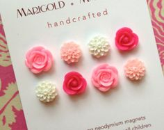 pink flowers, strong neodymium magnets, set of 8, pink flowers, roses, dorm decor, hostess gift, gardener, magnetic bulletin board