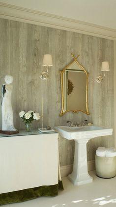 Benjamin Dhong - bathrooms - Vendome Single Sconce, gold, branch, mirror, glossy, white, pedestal, sink, faux bois, wallpaper, linen, skirted, table, green, trim,