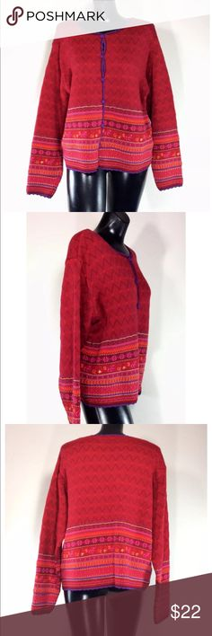 Boston Museum Of Fine Arts Ladies Cardigan Sweater Lovely sweater from the Boston Museum of Fine Arts.  Vibrant reds and purples are woven in a lovely pattern.  Button down. Cotton/rayon blend.  Size Large Boston Museum of Fine Arts Sweaters Cardigans