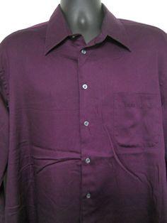 Mens XL Savile Row Shirt Purple Long Sleeve 17.5 34/35 Button Front Cotton Blend #SavileRow #ButtonFront