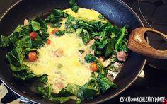 Low Carb Rezept für Rührei mit frischem Spinat und Schinken. Wenig Kohlenhydrate und einfach zum Nachkochen. Super für Diät/zum Abnehmen.