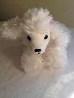 Aurora Mini Flopsie Plush White Poodle Dog Stuffed Animal Fluffy Pink Ear Ribbow #Aurora