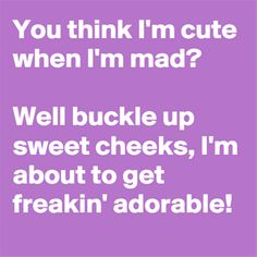 You think I'm cute when I'm mad? Well buckle up sweet cheeks, I'm about to get freakin' adorable! Sarcastic Quotes, Me Quotes, Funny Quotes, Funny As Hell, The Funny, Today Pictures, Funny Pictures, Clean Funny Memes, Funny Stuff