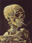 """Chris Jordan, Skull With Cigarette, 2007     98x72""""  Depicts 200,000 packs of cigarettes, equal to the number of Americans who die from cigarette smoking every six months. Based on a painting by Van Gogh."""