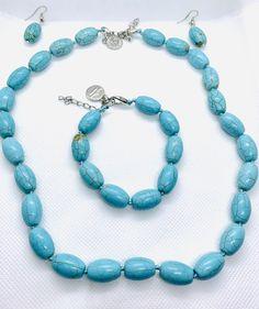 TURQUOISE SET - CavaWoman Necklace Set, Beaded Necklace, Beaded Bracelets, Turquoise Jewelry, Gemstone Jewelry, Game Of Thrones Episodes, Jewelry Tags, Pink Quartz, Stone Pendants