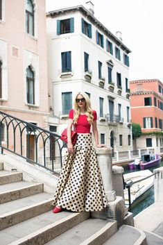 polka dots maxi skirt with red top