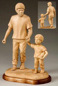 Life size wooden sculpture