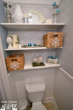 how to build bathroom shelf   We added some semi-floating shelves above the toilet last year, and I ...