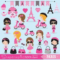 Cute Paris themed clipart set includes 29 clipart graphics including 9 different Paris girls, Eiffel towers, a poodle, scooter, shopping bag, purses, cupcakes, sunglasses, hearts, a frame, and 3 buntings. Matching Papers are available separately in our shop here: