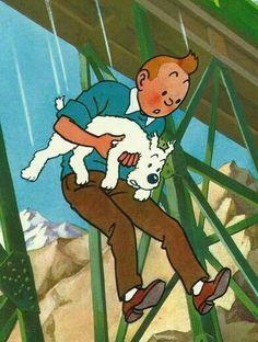 """Tintin"": Tintin and Snowy Tin Tin Cartoon, Herge Tintin, Ligne Claire, Snoopy, Dog Books, Animation, Animated Cartoons, Dog Art, Art World"