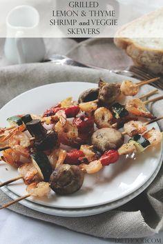 Grilled Lemon and Thyme Shrimp and Veggie Skewers | www.diethood.com | #recipe #grilling #shrimp
