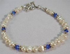 Royal Blue and Pearl Bracelet by originalsbydeb on Etsy, $15.00