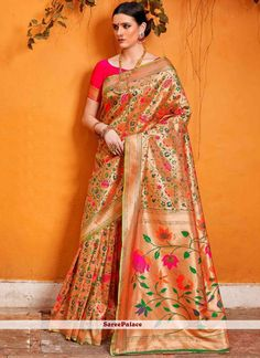 Shop for handmade indian sarees online! Order this art silk weaving work designer traditional saree for ceremonial and festival. Traditional Sarees, Traditional Looks, Traditional Outfits, Fancy Sarees, Party Wear Sarees, Silk Cotton Sarees, Chiffon Saree, Sari Dress, Indian Sarees Online