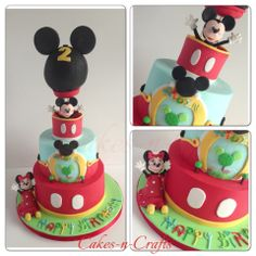 Mickey Mouse hot air balloon  - 2 tier Mickey Mouse themed cake with top tier mickey park and edible figures