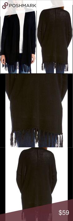 """KAREN KANE $119** Black Fringe Wool Blend Cardigan New With Tags.   KAREN KANE Stevie Black Fringe Wool Blend Cardigan  Size: SMALL Retail: $119.00  Bust Across: 23"""" 50% Wool/50% Acrylic Karen Kane Sweaters Cardigans"""