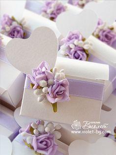 Wedding bonbonniere, roses, satin ribbon, heart shape place card from http://www.violet-bg.com/