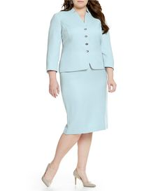 Tahari ASL Plus Herringbone Star Neck Skirt Suit