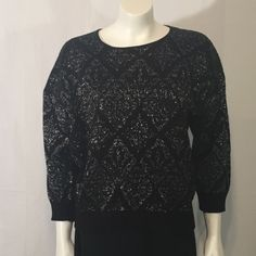 Vintage Black and Silver Knit Diamond Pattern Oversize Sweater with 3/4 sleeves Large L Bay Point Threads Made in USA 90s Nineties by CarolinaThriftChick on Etsy $14.99