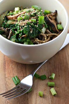 bok choy and shitake soba noodles