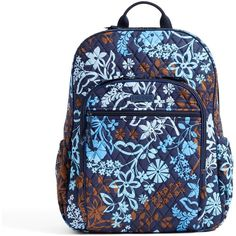 Vera Bradley Campus Tech Backpack in Java Floral ($108) ❤ liked on Polyvore featuring bags, backpacks, java floral, trolley backpack, vera bradley backpack, floral rucksack, backpack bags and floral backpack