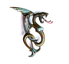 Vintage Art Nouveau Enamel Winged Dragon Jewelry Brooch Pin Game of Thrones 1930s Brass  $28.00
