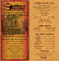 The Gallery Espresso can claim its self at the oldest coffee shop in Savannah. The coffee taste on the other hand is yet to be determined. This is a half mile from school.