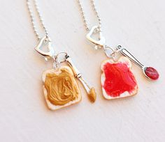 Peanut Butter Jelly Strawberry Jam Best Friends Charm Necklace  - Miniature Food Jewelry - Food Jewelry