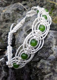 Jade Macrame Anklet Gypsy hemp jewelry by DemetersLoveAffair. Pretty!
