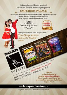 Welcome to the Weekend Magazine :  Visit the new Barnyard Theatre at Emperors Palace