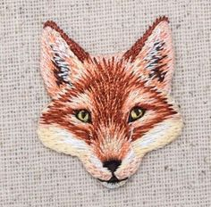 """Fox Iron on Applique High quality, detailed embroidery applique. Can be sewn or ironed on. Great for hats, bags, clothing, and more! Size is approx. 1-3/8"""" x 1-1/2"""" or 3.49cm x 3.81cm"""