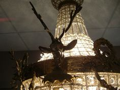 Inventory - deer head motif chandelier-antique